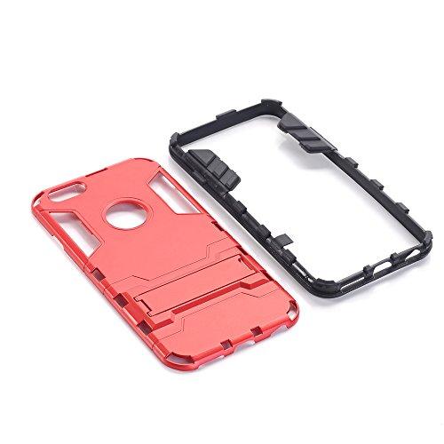 iphone 7 Custodia, Ultra Sottile 2-in-1 Cases Protettivo Estrema Assorbimento-Urti Kickstand Armatura Cover Per iphone 7. (Rosso) Rosso