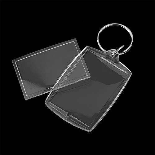 SUNSHINETEK 50 STÜCKE Klare Foto Schlüsselanhänger Leere Acryl Foto einfügen Schlüsselbund Personalisierte Benutzerdefinierte Bilderrahmen Schlüsselanhänger Schlüsselanhänger mit Spaltring für DIY Ges