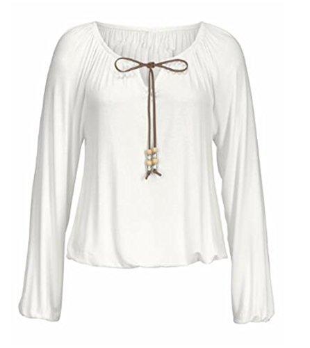 Aoliait Basique Couleur Unie Top Femmes Manches Longues En Corde T-shirt Mode Détendu Chemise Coton Soft Blouse ElÉGant Décontractée Haut white