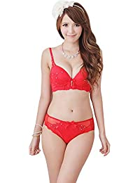 AMNOR Women s Girls Removable Padded Underwire Fancy Red Hot Sexy Lace  Sheer Underwear Push up Bra 5a91dba2d
