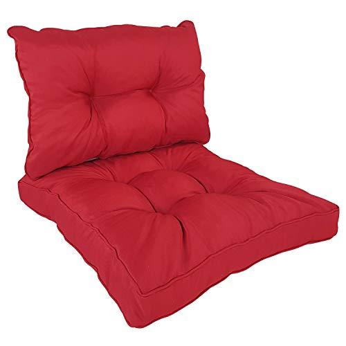 SunDeluxe Loungekissen Comfort - Sitzkissen 60x60 cm und Rückenkissen 60x40 cm Rot - vielseitig einsetzbare Sitzauflage für Rattanmöbel, Gartenbänke, Stühle