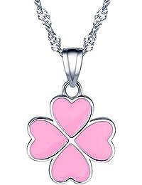 yumilok Jewelry–Pendientes de plata de ley 925rosa corazones Lovely trébol de cuatro hojas colgante collar para las mujeres/niñas