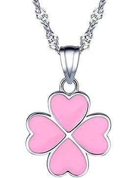 Yumilok 925 Sterling Silber Rosa Herz Vierblättriges Kleeblatt Anhänger Halskette Kette mit Anhänger für Damen...