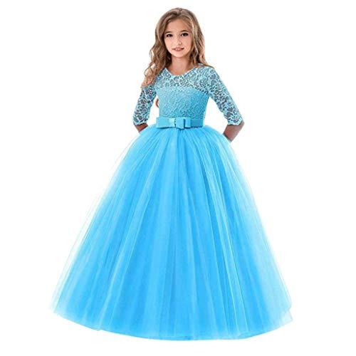 Livoral Kinder Mädchen Spitze Bogen Prinzessin Hochzeitshow Formelle Tutu Kleid(Himmelblau,5-6 Years)