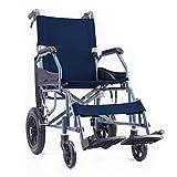 ACEDA Faltbarer Rollstuhl Mit Hohen Griffen,Leichtgewichtrollstuhl Medical Metallic,10Kg Transportrollstuhl Reiserollstuhl,Sitzbreite 42Cm, Rollstuhl(Kann 100Kg Unterstützen),Schwarz,Blue