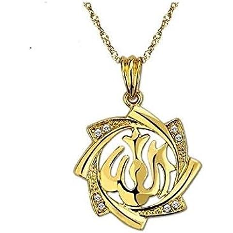 Oro placcato 18 k con pendente a forma di Allah & Collana Islam