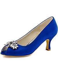 ElegantPark HP1540 Women Mid Heels Prom Satin Peep Toe Pumps Rhinestiones Wedding Evening Court Shoes