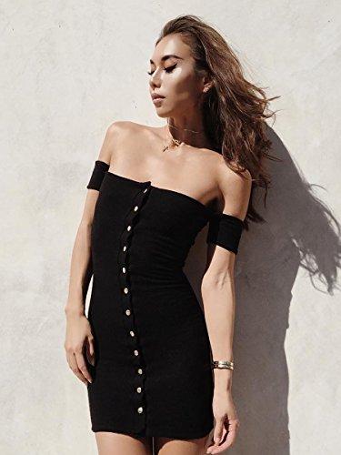 Simplee Apparel - Robe - Moulante - Femme Noir