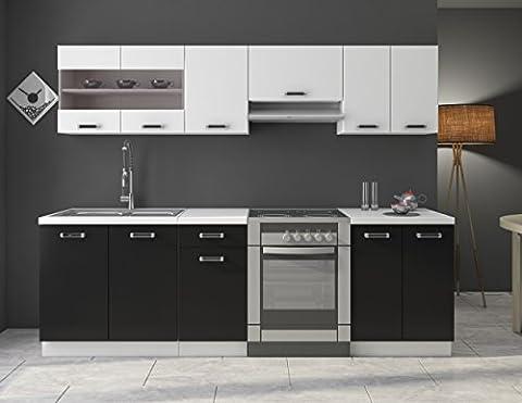 Küche Omega 240 cm Küchenzeile / Küchenblock variabel stellbar in