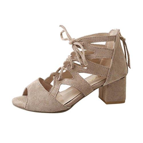 VJGOAL Damen Sandalen, Damen Mode Sandalen Ankle Platz Heels Block Party Open Toe Zip Sommer Schuhe Frau Geschenk (37 EU, Beige)