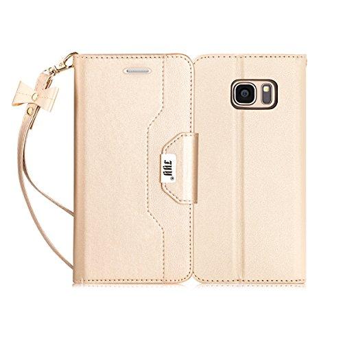 FYY Hülle für Samsung Galaxy S7 Handyhülle, Galaxy S7 Brieftasche Hülle,Bookstyle Schutzhülle mit Ständer Kartenfach Magnetverschluss für Samsung S7 Hülle,Galaxy S7 Flip Ledertasche-Gold
