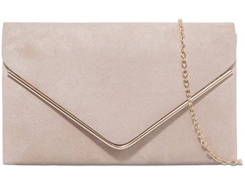 Donne Faux Suede frizione borsa busta Metallic Frame Plain Design - Navy Nude