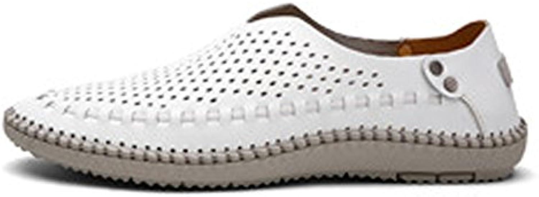 Ruiyue Herren Echtleder Oxford Schuhe  Klassische Slip on Loafers Atmungsaktiv Loch gefüttert Bequeme Schuhe