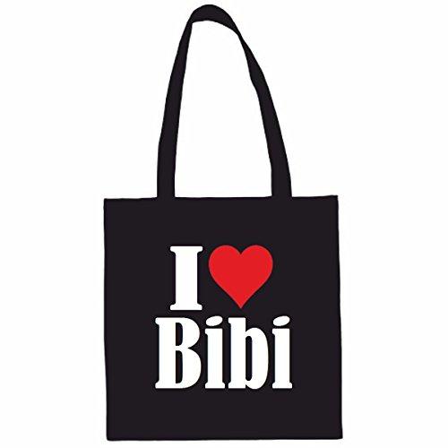 Sac à Bandoulière I Love Bibi Shopping Bag Sac d'école Sac de Sport 38x 42cm en Noir ou Blanc.. Le cadeau parfait pour votre amoureux