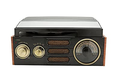 GPO Empire Classic Vintage Style 3-Speed Record Player Turntable with Analogue Radio and Built-In Speaker from Protelx
