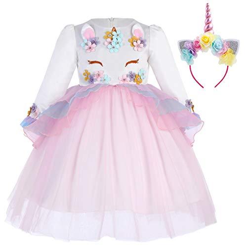 IWEMEK Princesa Bebé Niña Vestido Unicornio Cumpleaños Disfraz de Cosplay para Fiesta Carnaval Navidad Bautizo Comunión Boda Rosa 6-73 Años