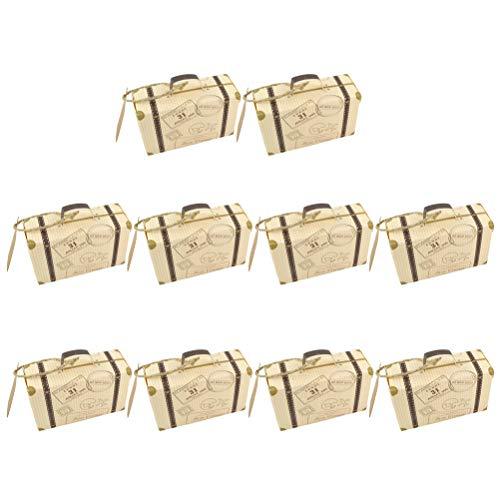 BESTOYARD 10 stücke Mini Koffer Form Süßigkeitskästen Flugzeug Muster Papier Geschenkbox Hochzeit Gefälligkeiten Partei Liefert Süßigkeiten Halter Schokolade Tasche