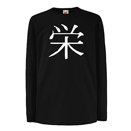 irt mit Langen Ärmeln Wohlstandlogo - Chinesisch - Japanisches Kanji-Symbol (9-11 Years Schwarz Weiß) (Halloween Los Simpson Jahr 2017)