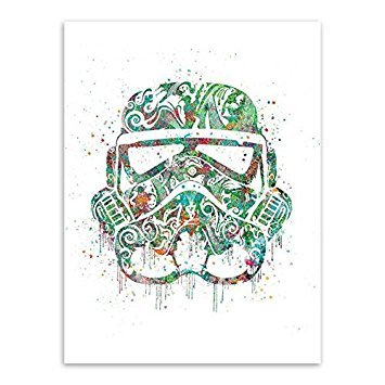 BSNKRY Modern Watercolor Darth Vader Mask Pop Star Movie Poster Kids Boy Room Wall Art Print Picture Home Deco Canvas Painting No Frame 50X70 cm No Frame Green