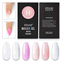atteryhui Gel Nail Polish Set, 6 Colors Soak Off Hybrid Varnish Extension Semi Permanent Gel Base Top, Nail Art Poly Gel for Nail Art DIY at Home easy to use