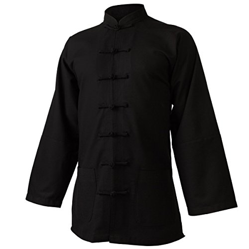 wu designs Leinen (mittel) Tai Chi Oberteil Stehkragen - Taiji Shirt - Tai Chi Anzug - Kung Fu - Wushu - schwarz - 180
