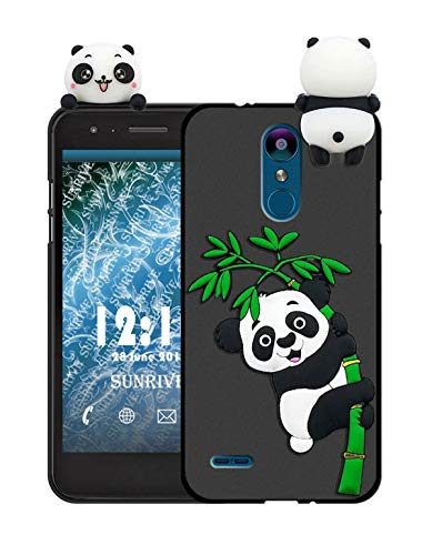 Sunrive Für Lg K9 Hülle Silikon, Handyhülle matt Schutzhülle Etui 3D Case Backcover Tiere Muster Cover Handy Tasche Bumper(W1 Panda 2)+Gratis Universal Eingabestift Tier Handy Cover
