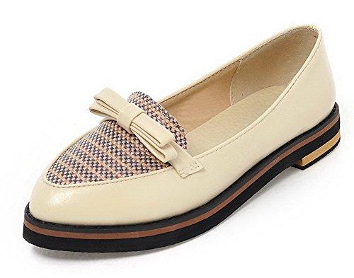 AgooLar Femme Matière Souple Pointu à Talon Bas Tire Couleurs Mélangées Chaussures Légeres Beige