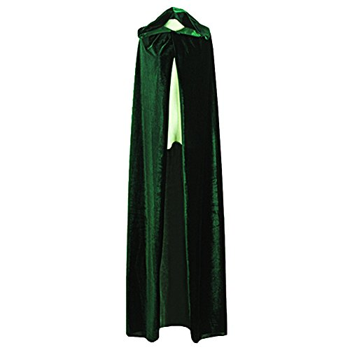 Damen Herren Halloween Umhang Karneval Fasching Kostüm Cosplay Cape mit Kapuze Grün
