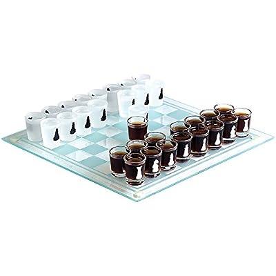 MonsterCadeaux - Jeu d'échecs à Boire avec Verres Shooters - Jeu d'alcool avec Verres à Liqueur - Cadeau pour Homme et Femme - Jeu de société pour Adultes - Plateau de Jeu : 35 x 35 cm