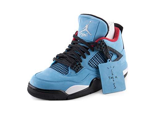 7bdd4ebce43645 Jordan Nike Mens Air 4 Retro Cactus Jack University Blue Black Suede Size 11