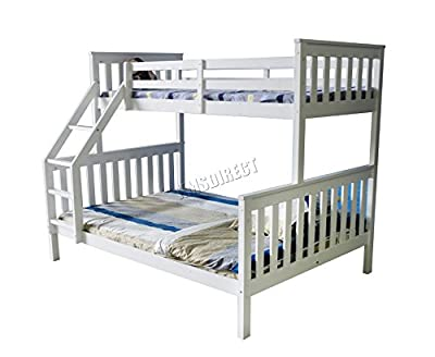 FoxHunter Bunk Bed Wooden Frame Children Triple Sleeper No Mattress White Single Top Double Base Furniture New - inexpensive UK Bunkbed shop.