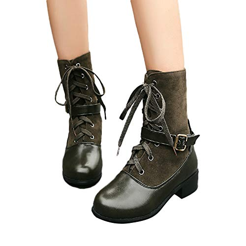 BHYDRY Schuhe Klassisch Damen Westernabsatz Martin Stiefel Freizeit Schnallenschuhe Einfarbig Kurze RöHre SchnüRen Stiefeletten(36.5 EU,Grau)