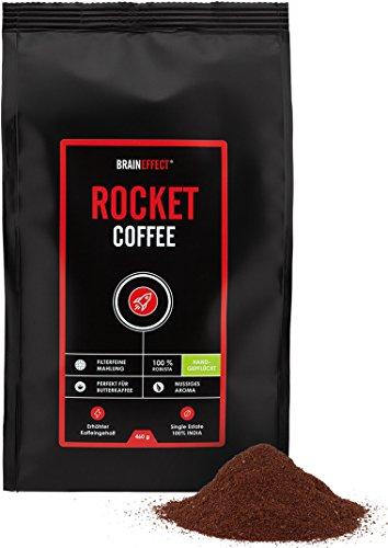 20% PRIME DAY RABATT - NUR HEUTE | BRAINEFFECT ROCKET COFFEE 460g | Ideal für Bulletproof Coffee | Erhöhter Koffeingehalt | 100% Gemahlene Robusta Bohnen | Vegan