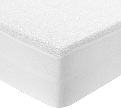 Best Purchase Protector de colchón rizo impermeable 90 135 150 x 190/200 cm blanco - Transpirable, Hipoalergénico, Anti-Ácaros, Antibacteriano, Anti-moho – Protector contra líquidos y humedades