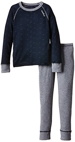 Odlo Kinder Funktionsunterwäsche Jungen Set Warm Kids Shirt Long Sleeve Pants Long, Navy New - Grey Melange, 128, 150409