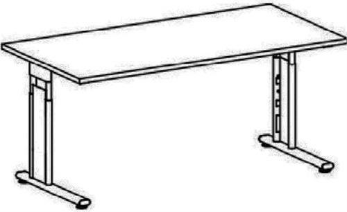 Gera Möbel C Fuß Flex Schreibtisch, Holzdekor, ahorn/Silber, 180 x 80 x 72 cm
