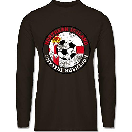 Shirtracer Fußball - Northern Ireland Kreis & Fußball Vintage - Herren Langarmshirt Braun