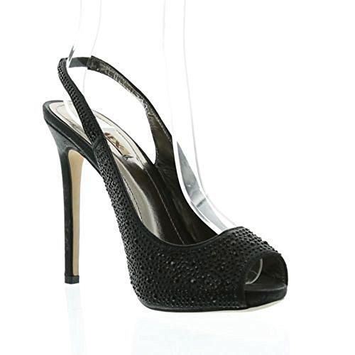 Jumex Damen Pumps Elegant High Heels Schwarz Gold Schwarz