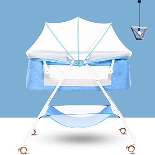 Sisyria Pliant Lit bébé, bébé Berceaux Portable Bassinets bébé Respirant Chaise Longue Lit Espace Saving Tout-Petit Transporteur Co-Sleeper,Bleu,WhiteLegs