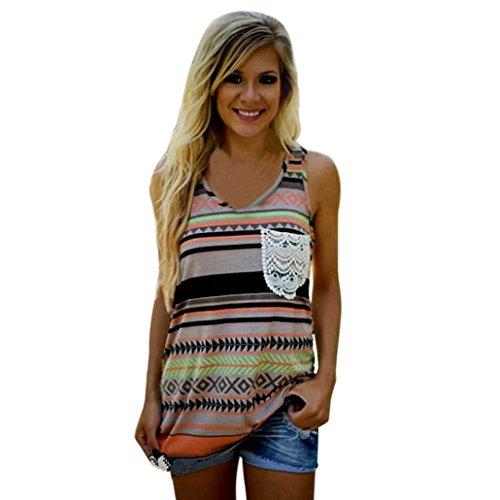 Band Womens Tank Top (VEMOW Women's Fashion Tribe Print Pocket Tank Top Sleeveless Tops (XL, orange))