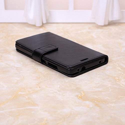 Wkae Case Cover Huawei Honor 7 Fall feste Folio magnetische Design Flip Brieftasche Stil Fall Farbmuster PU-Leder-Abdeckung Standup-Abdeckungsfall für Huawei Honor 7 ( Color : White , Size : Huawei ) Black