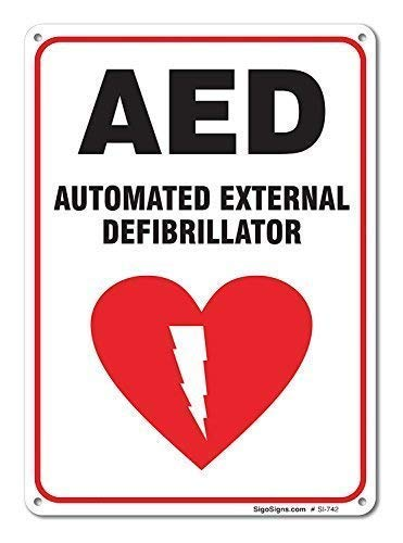 AdriK Rustikales Metallschild Post automatisiert Externe Defibrillator-Schild, Aluminium-Wandkunst, Dekoration -