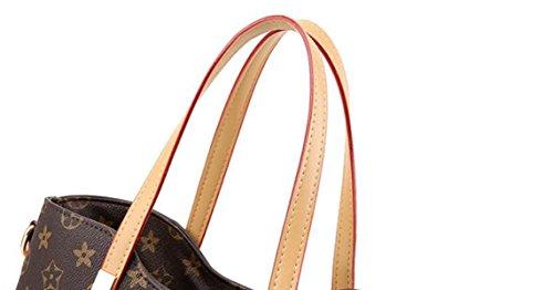 ZPFME Borsa Per Donna Tote Set Moda Due Borsa A Tracolla Shopper Cuoio Party Retro Banchetto C