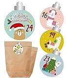 KuschelICH Lama Alpaka Adventskalender zum Befüllen - Papiertüten & Sticker mit Zahlen - Neuheit 2018 Weihnachtskalender selber Machen (Lama Alpaka)