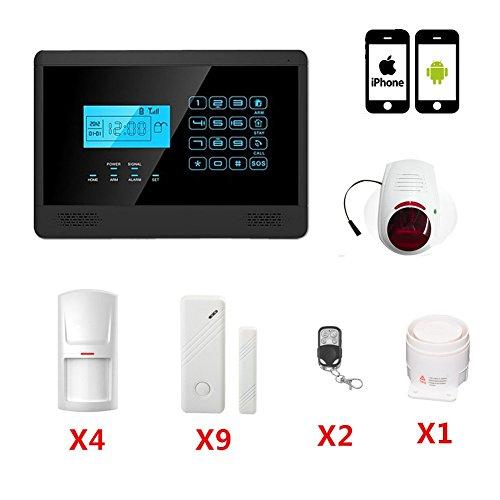 ABTO Avanzada teclado táctil inalámbrica GSM marcado automático Smart Home Kit de seguridad del sistema de alarma (Negro)