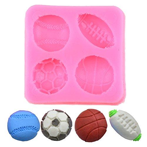 Plätzchen Modellierwerkzeug Schokoladen Form, WCIC Silikon-Backform Schimmel für Basketball, Fußball, Tennis, Fußball Basketball-schokolade