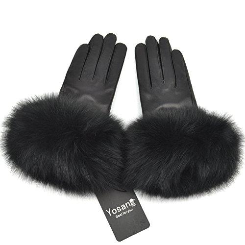 Yosang Damen echtes Lammfell Leder Winter Handschuhe mit Pelz Trim Schwarz Large (Trim Pelz)