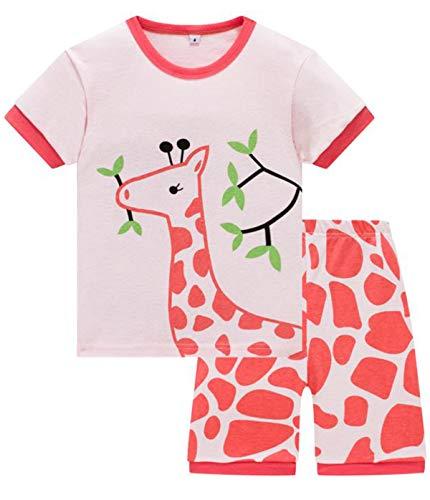MIXIDON Mädchen Schlafanzug Giraffe Drucken Nachtwäsche Baumwolle Kinder Frühling Sommer Bekleidung Pyjama Set Rosa Kurze Ärmel Pyjama Zweiteiliger Schlafanzug - Rosa Kurzer Schlafanzug