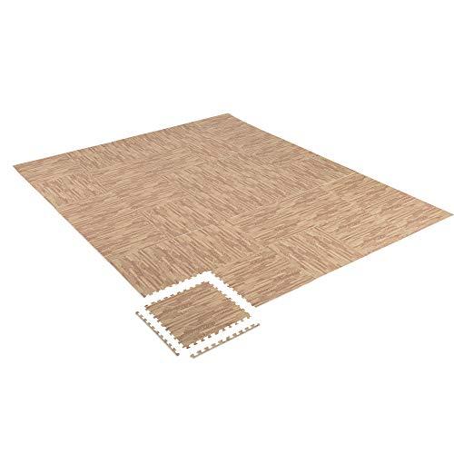 Homcom Tapis en Mousse de Protection Sol Tapis de Fitness 62L x 62l x 1H cm avec Bordures Tapis Puzzle 30 pièces Surface 10,8 m² Imitation parquet en Bois