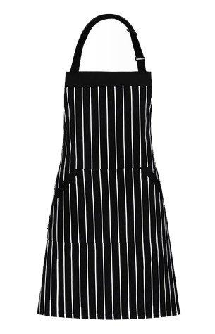 Cozywind Delantal Ajustable para Hombres Mujeres,Delantal Cocina Camarero Cocinero Cafeteria, Rayas Negras y Blancas (72 x 100CM)